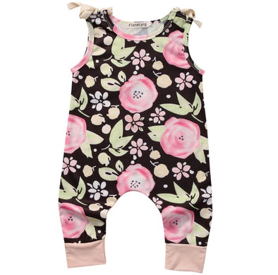 Pink Flower Brown Sleeveless Jumpsuit