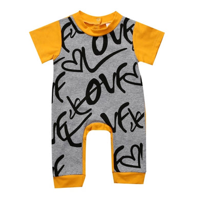 """Love"" Yellow Short Sleeve Jumpsuit"