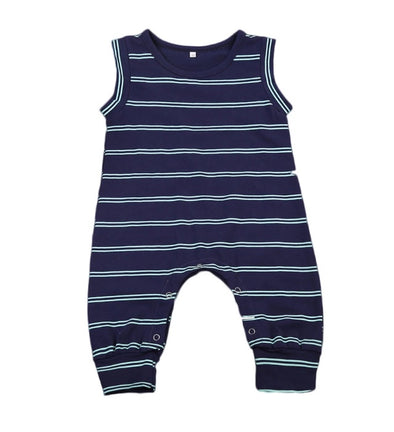 Navy & White Stripe Sleeveless Jumpsuit