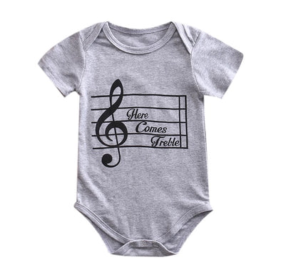 """Here Comes Treble"" Gray Short Sleeve Onesie"