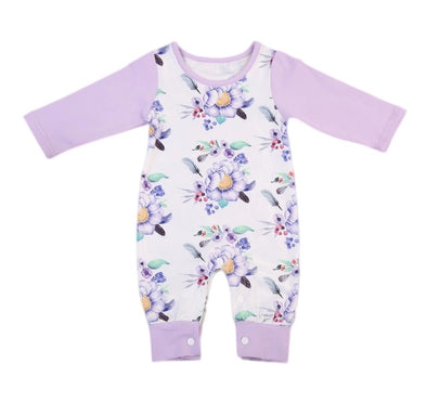 Purple Flower Long Sleeve Jumpsuit