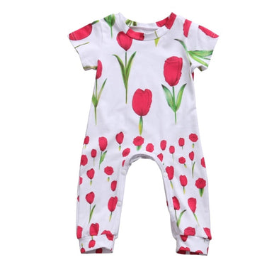Red Tulip Short Sleeve Jumpsuit
