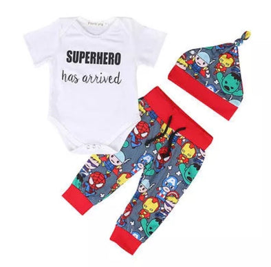 "'Superhero Has Arrived"" Short Sleeve Onesie 3 Piece Outfit"