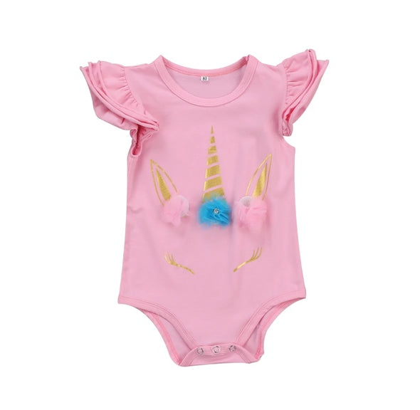 Unicorn Pink Short Sleeve Onesie