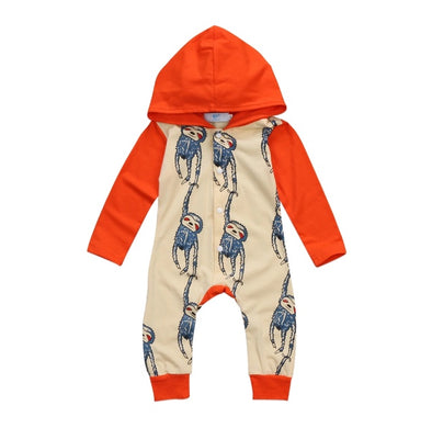 Orange Monkey Hooded Jumpsuit