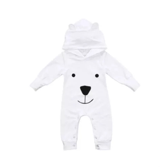White Bear Hooded Jumpsuit