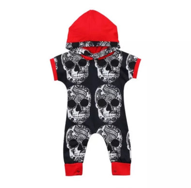 Red and Black Skull Short Sleeve Hooded Jumpsuit