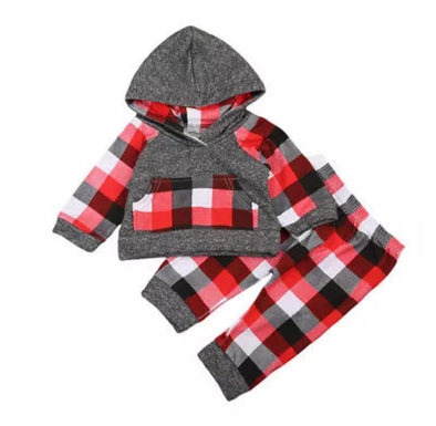 Red and Gray Plaid Hoodie and Leggings