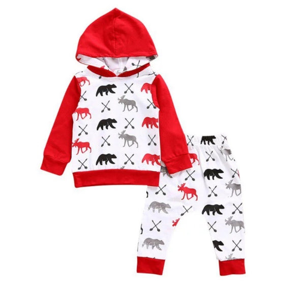 Red Bear Gray Moose Hoodie and Leggings