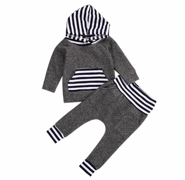 Charcoal and Navy Stripe Hoodie and Leggings