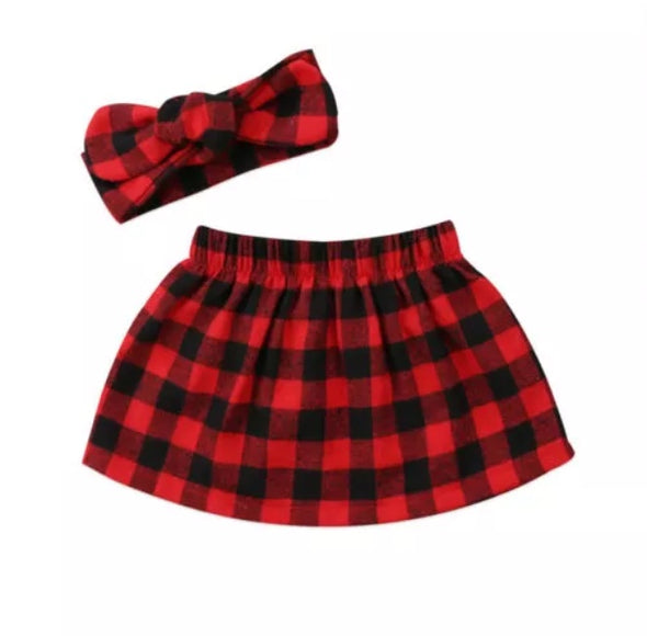 Red Buffalo Plaid Flannel Skirt and Headband