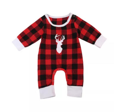 Deer Plaid Flannel Jumpsuit