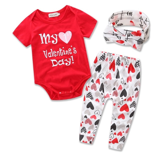 my first valentines day red short sleeve onesie 3 piece outfit wisemom baby boutique - First Valentines Day