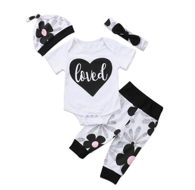 """Loved"" Short Sleeve Onesie 3 Piece Outfit"