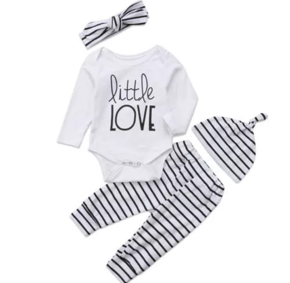 """Little Love"" Long Sleeve Onesie 3 Piece Outfit"