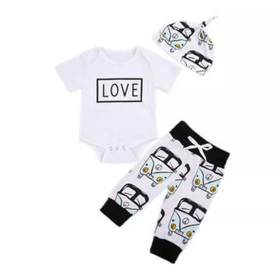 VW Love Short Sleeve Onesie 3 Piece Outfit