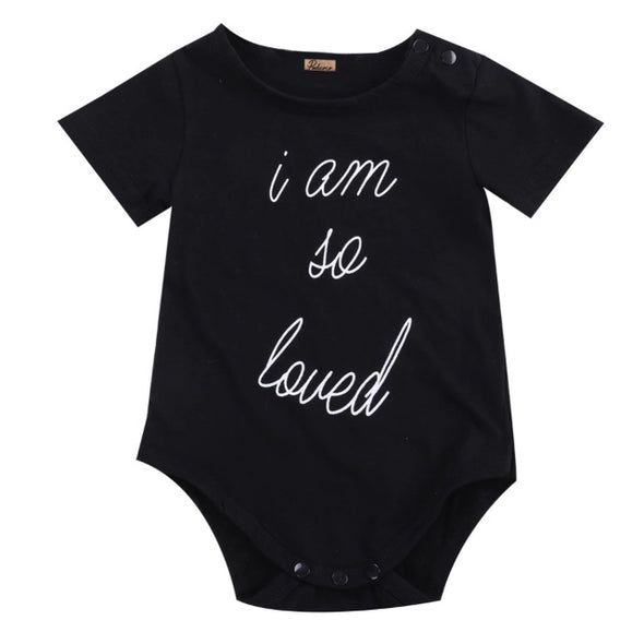"""I Am So Loved"" Short Sleeve Onesie"