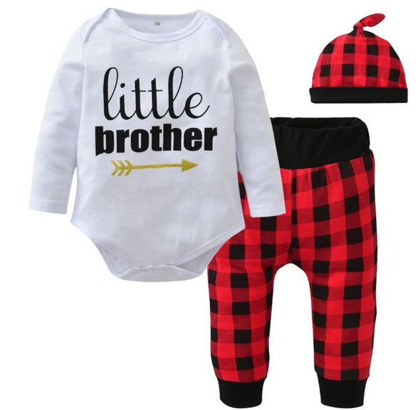 """Little Brother"" Long Sleeve Onesie 3 Piece Outfit"