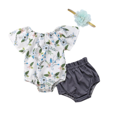 Gray Floral Short Sleeve Onesie Set