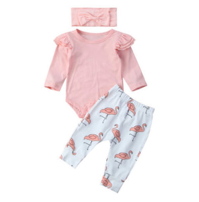 Pink Flamingo Long Sleeve Onesie 3 Piece Outfit
