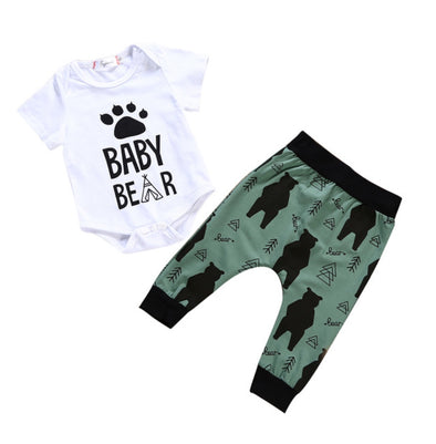 Baby Bear Short Sleeve Onesie 2 Piece Outfit