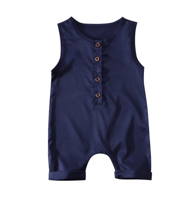 Navy or Apricot Sleeveless Romper