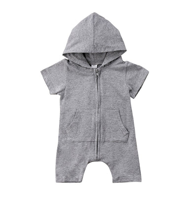 Gray Short Sleeve Hooded Romper