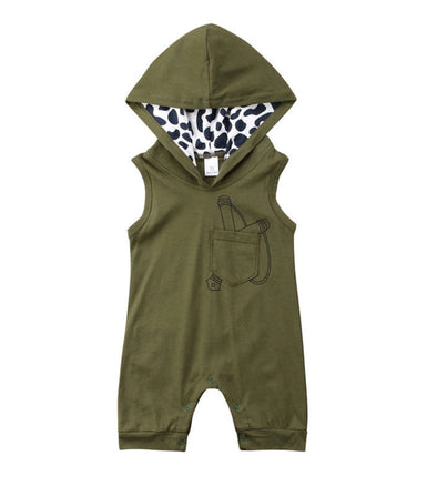 Olive Sling Shot Short Sleeve Hooded Jumpsuit