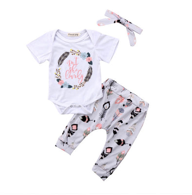 Isn't She Lovely Short Sleeve Onesie 3 Piece Outfit