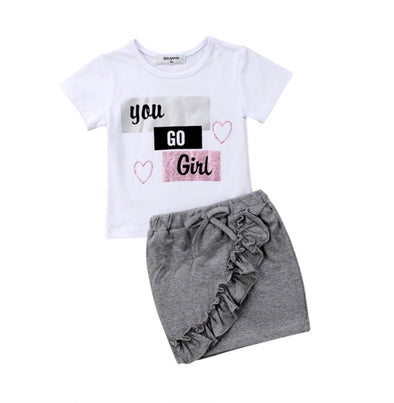 You Go Girl Short Sleeve and Skirt Set - TODDLER