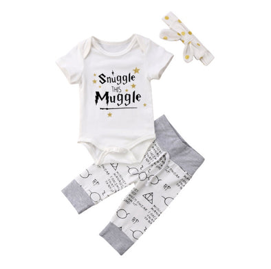 Snuggle This Muggle Short Sleeve Onesie 3 Piece Outfit