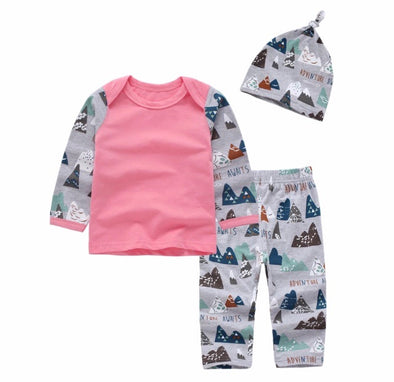 "Pink ""Adventure Awaits"" Long Sleeve 3 Piece Outfit"