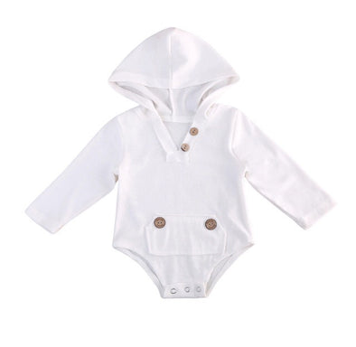 White Hooded Long Sleeve Onesie