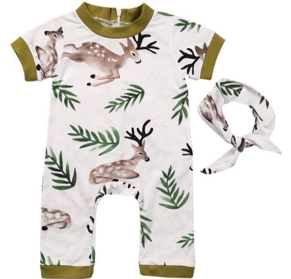 Deer Short Sleeve Jumpsuit