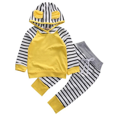 Sunshine Yellow with Navy Stripes Hoodie and Leggings