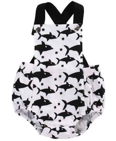 Shark Monochrome Sleeveless Romper
