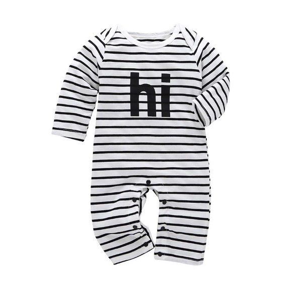 """Hi"" Striped Jumpsuit"