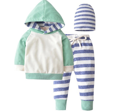 Green and Blue Stripe Hoodie and Leggings
