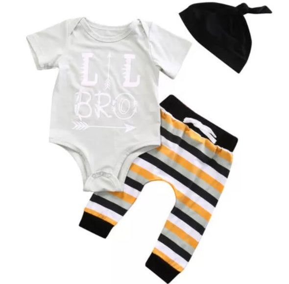 """Lil Bro"" Short Sleeve Onesie 3 Piece Outfit"