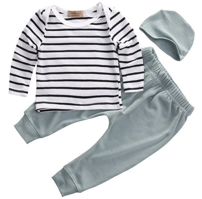 Steel Green and Striped Long Sleeve Shirt & Leggings