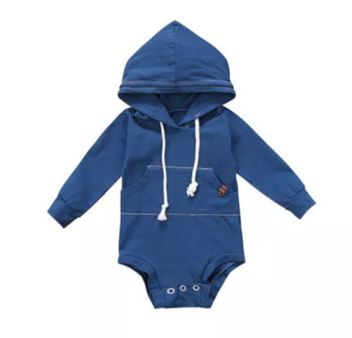 Steel Blue Hooded Long Sleeve Onesie