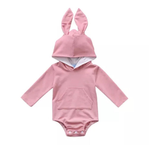 Soft Pink Bunny Hooded Long Sleeve Onesie