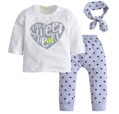 """I'm A Sweet Heart"" Long Sleeve 3 Piece Outfit"