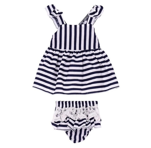 Navy Striped Sleeveless Shorts Set