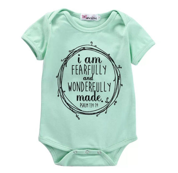 Mint Fearfully Made Short Sleeve Onesie