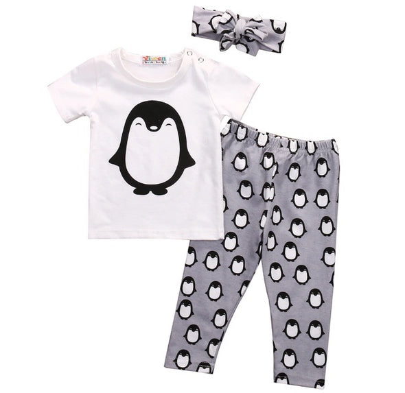 Penguin Short Sleeve 3 Piece Outfit