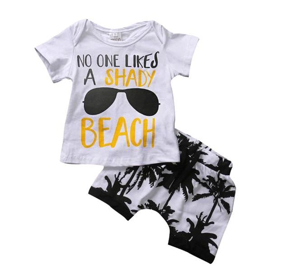 """Shady Beach"" Short Sleeve Shorts Set"