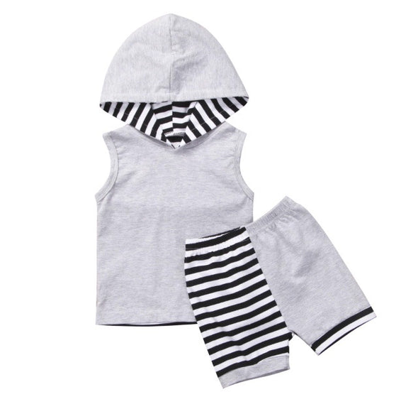 Gray Striped Sleeveless Hooded Shorts Set