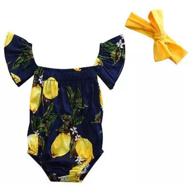 Navy Lemon Off The  Sleeve Romper