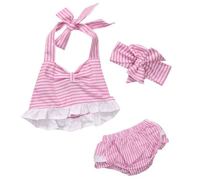 Pink and White Striped Sleeveless Shorts Set
